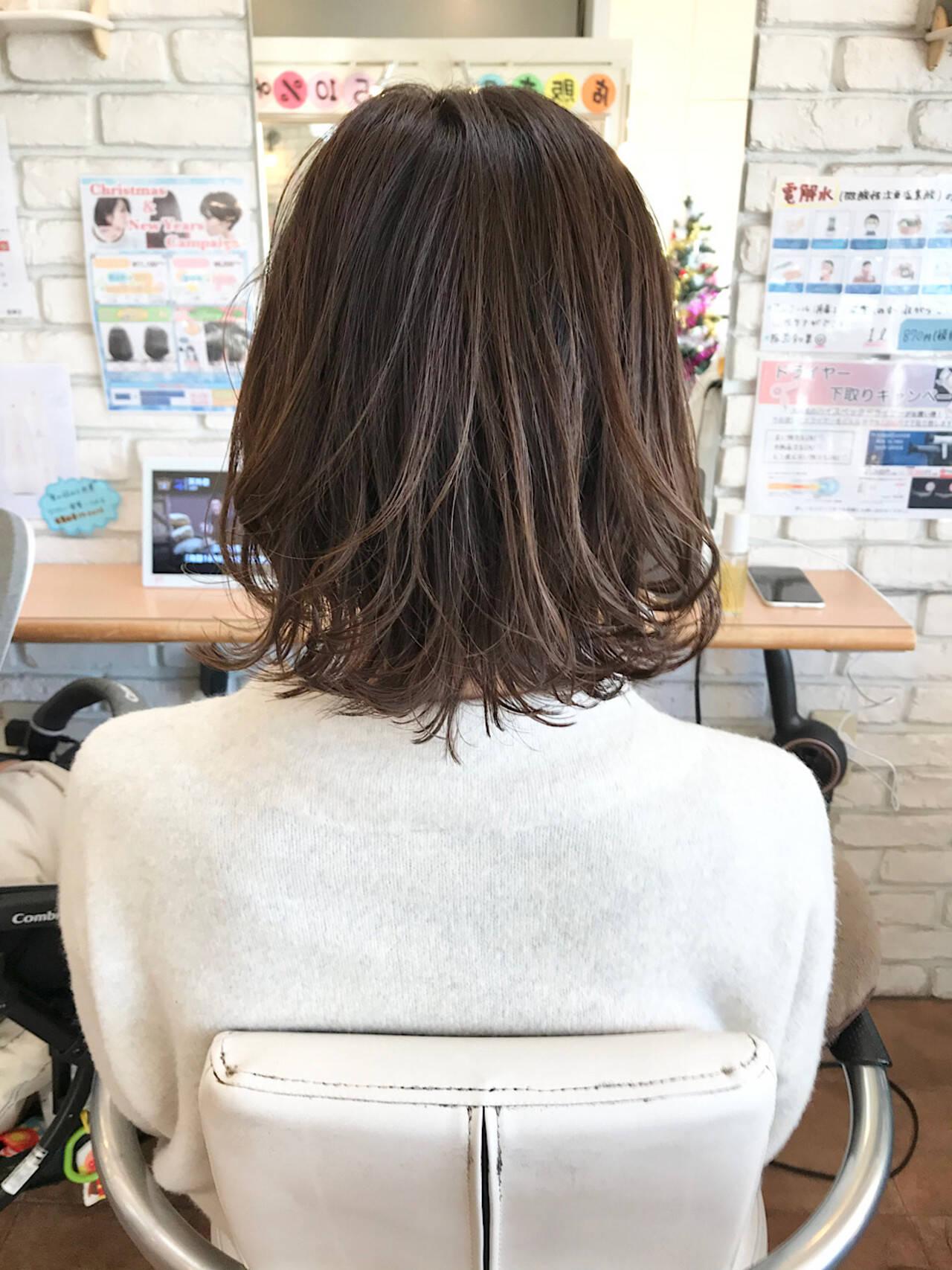 透明感カラー ボブ 3Dハイライト 外ハネボブヘアスタイルや髪型の写真・画像