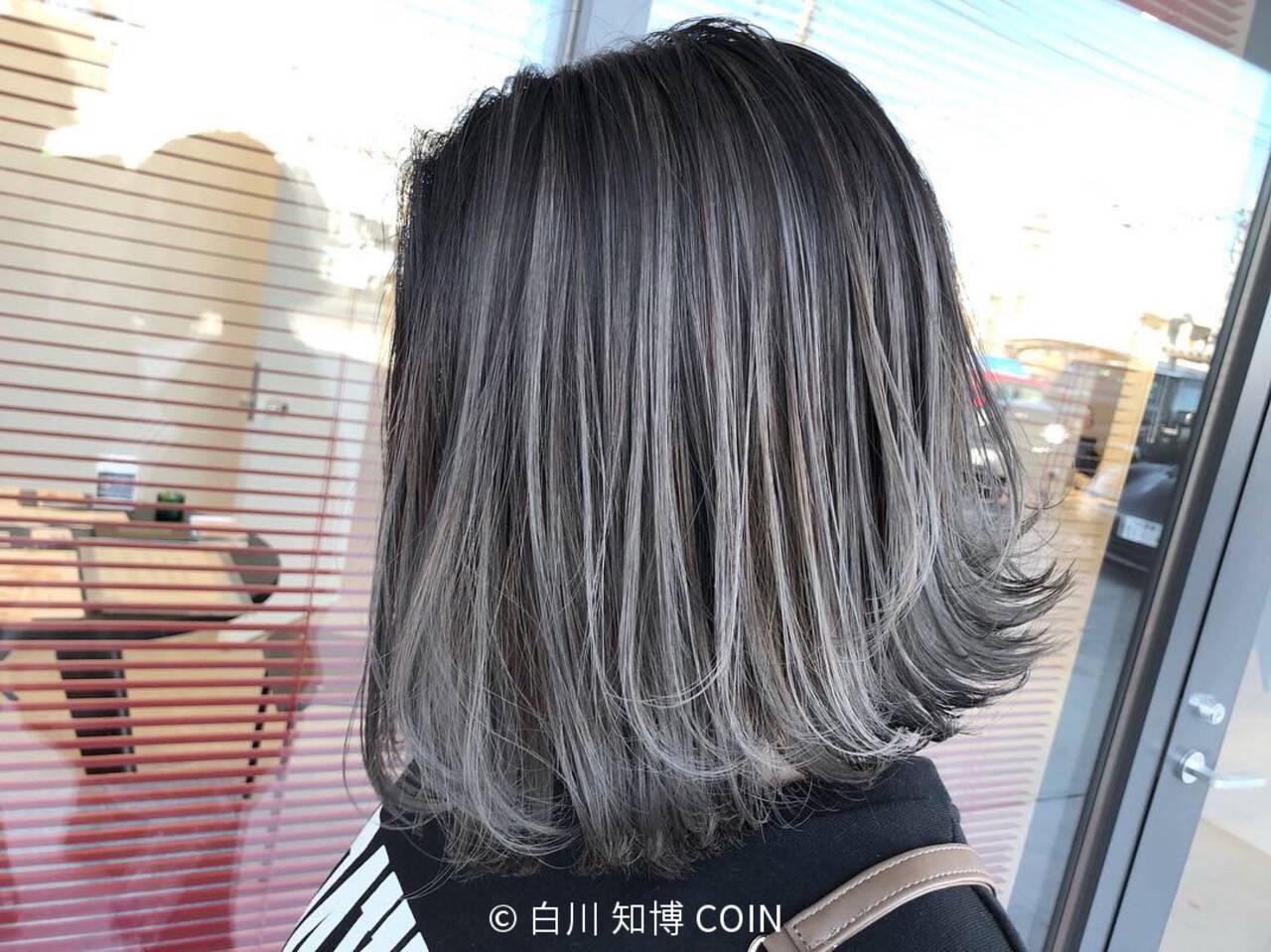 切りっぱなしボブ グラデーションカラー ボブ ハイライトヘアスタイルや髪型の写真・画像