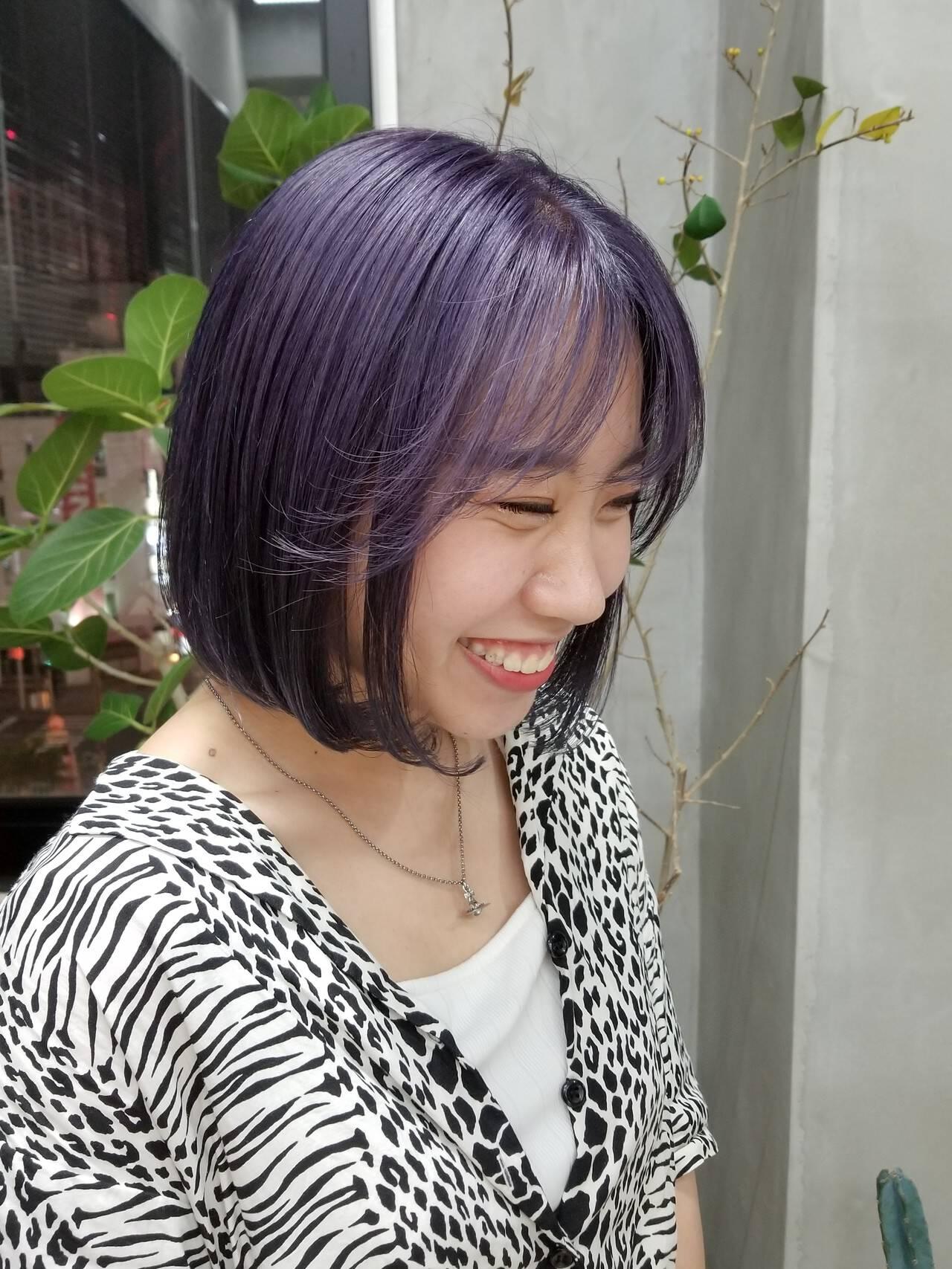 ラベンダーカラー ボブ 韓国ヘア ストリートヘアスタイルや髪型の写真・画像