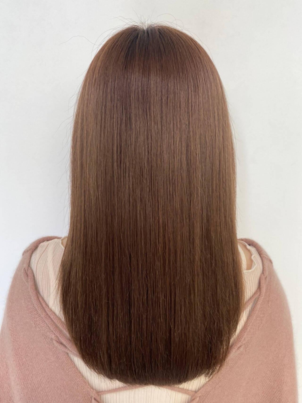 ロング モテ髪 ピンクベージュ 艶髪ヘアスタイルや髪型の写真・画像