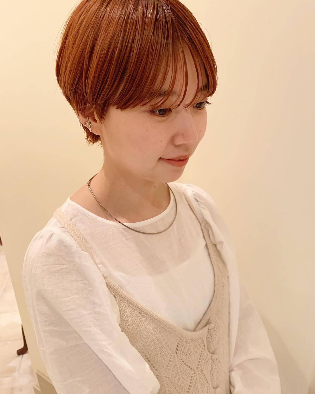 マッシュショート オレンジブラウン ショート ナチュラルヘアスタイルや髪型の写真・画像