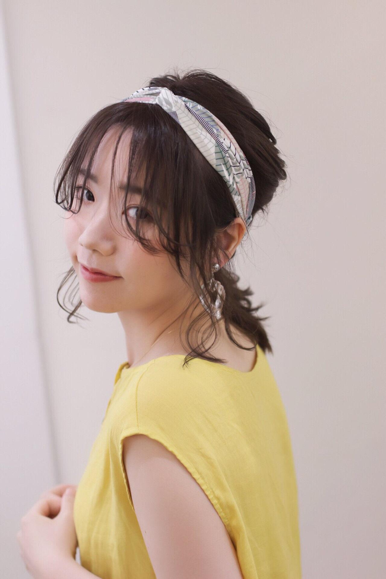 パーマ ミディアム ヘアアレンジ 簡単ヘアアレンジヘアスタイルや髪型の写真・画像