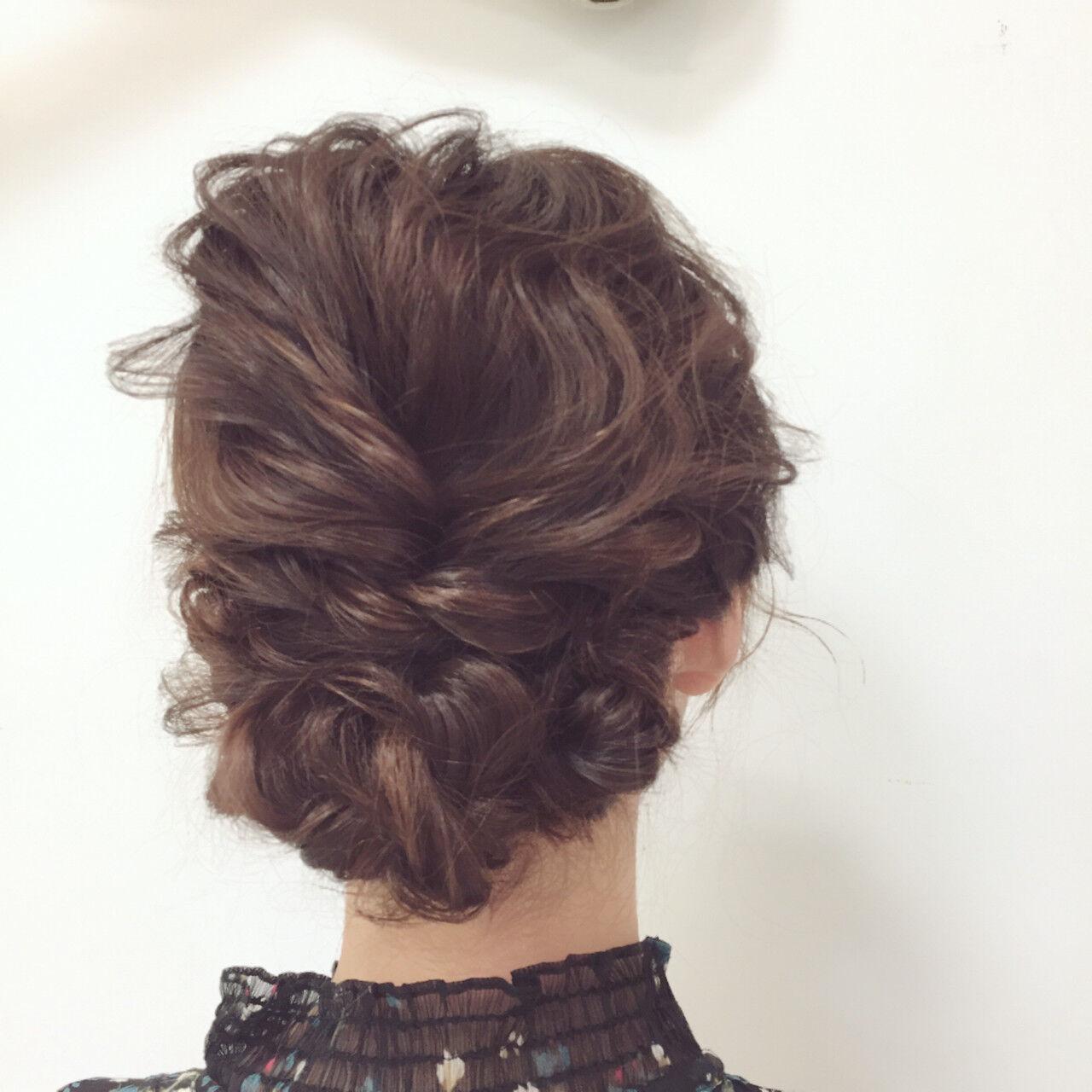セミロング 結婚式 ヘアアレンジ ゆるふわヘアスタイルや髪型の写真・画像