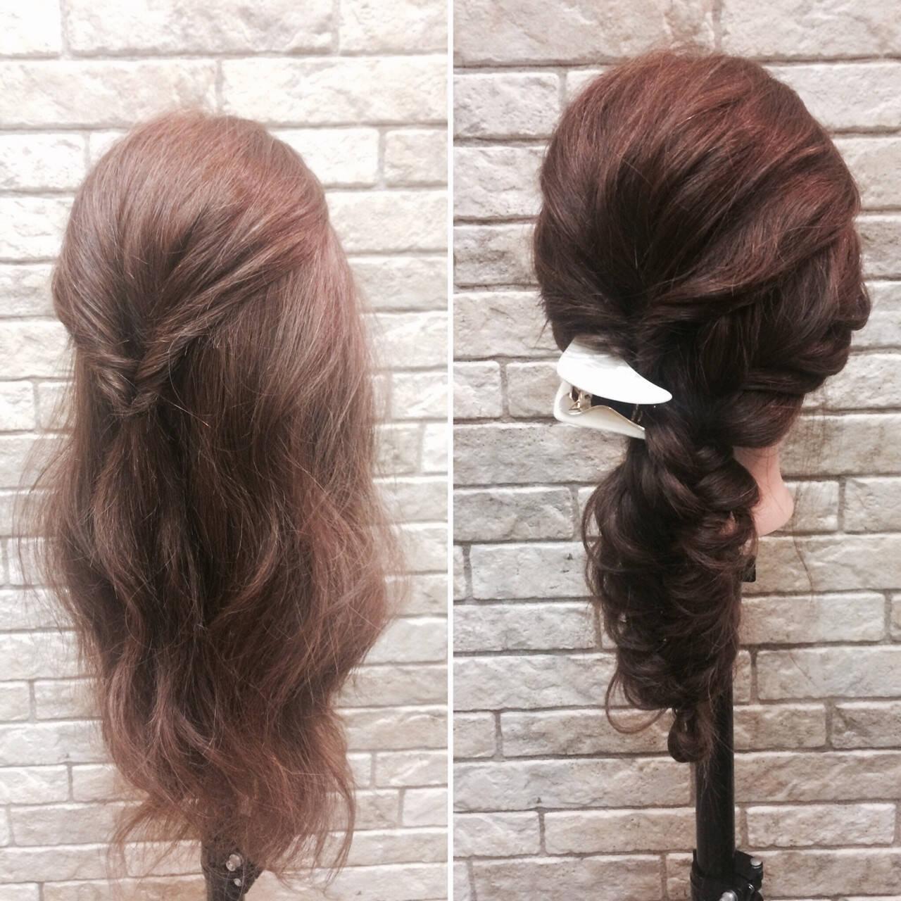 ミディアム ナチュラル デート 簡単ヘアアレンジヘアスタイルや髪型の写真・画像