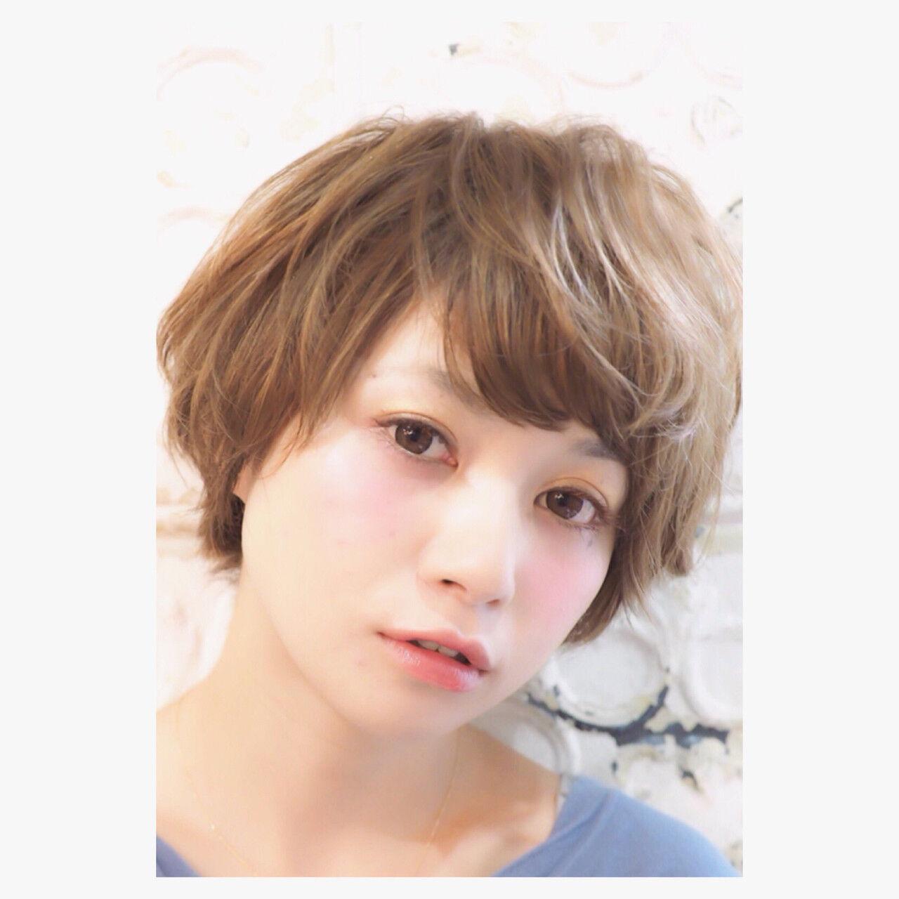 ショートボブ 小顔 似合わせ ショートヘアスタイルや髪型の写真・画像