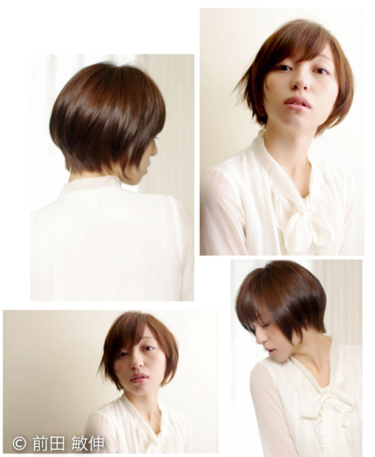 大人かわいい ナチュラル 小顔 ショートボブヘアスタイルや髪型の写真・画像
