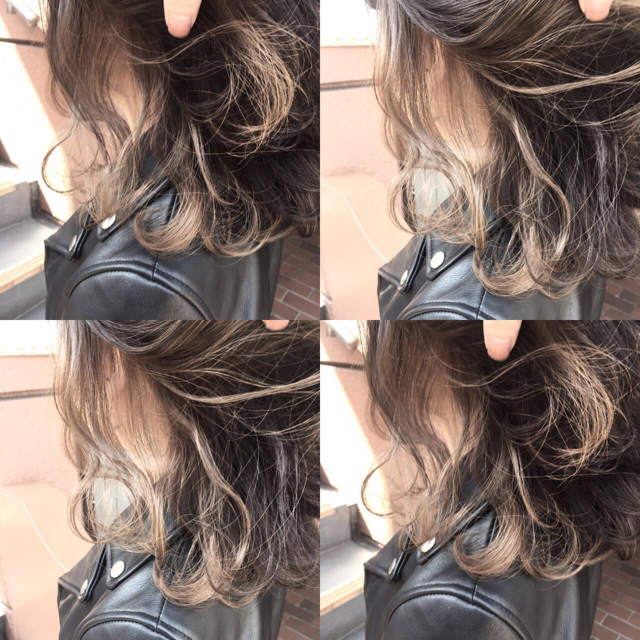 外国人風 グレージュ アッシュ ミディアムヘアスタイルや髪型の写真・画像