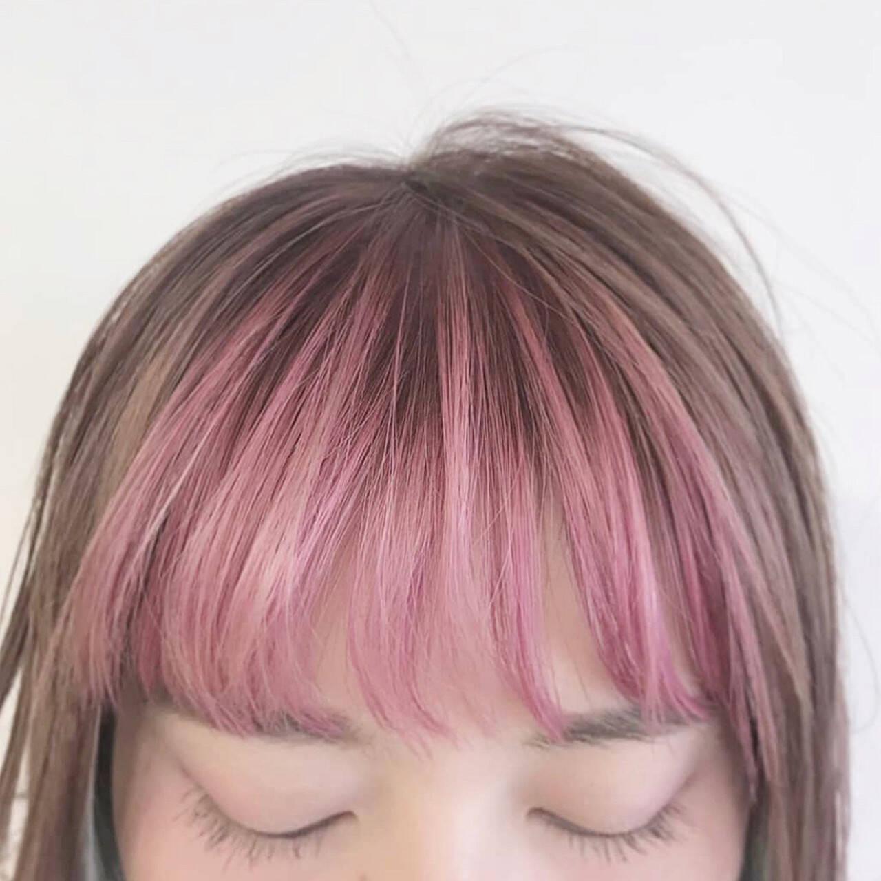 ボブ ピンクベージュ ピンク パステルカラーヘアスタイルや髪型の写真・画像