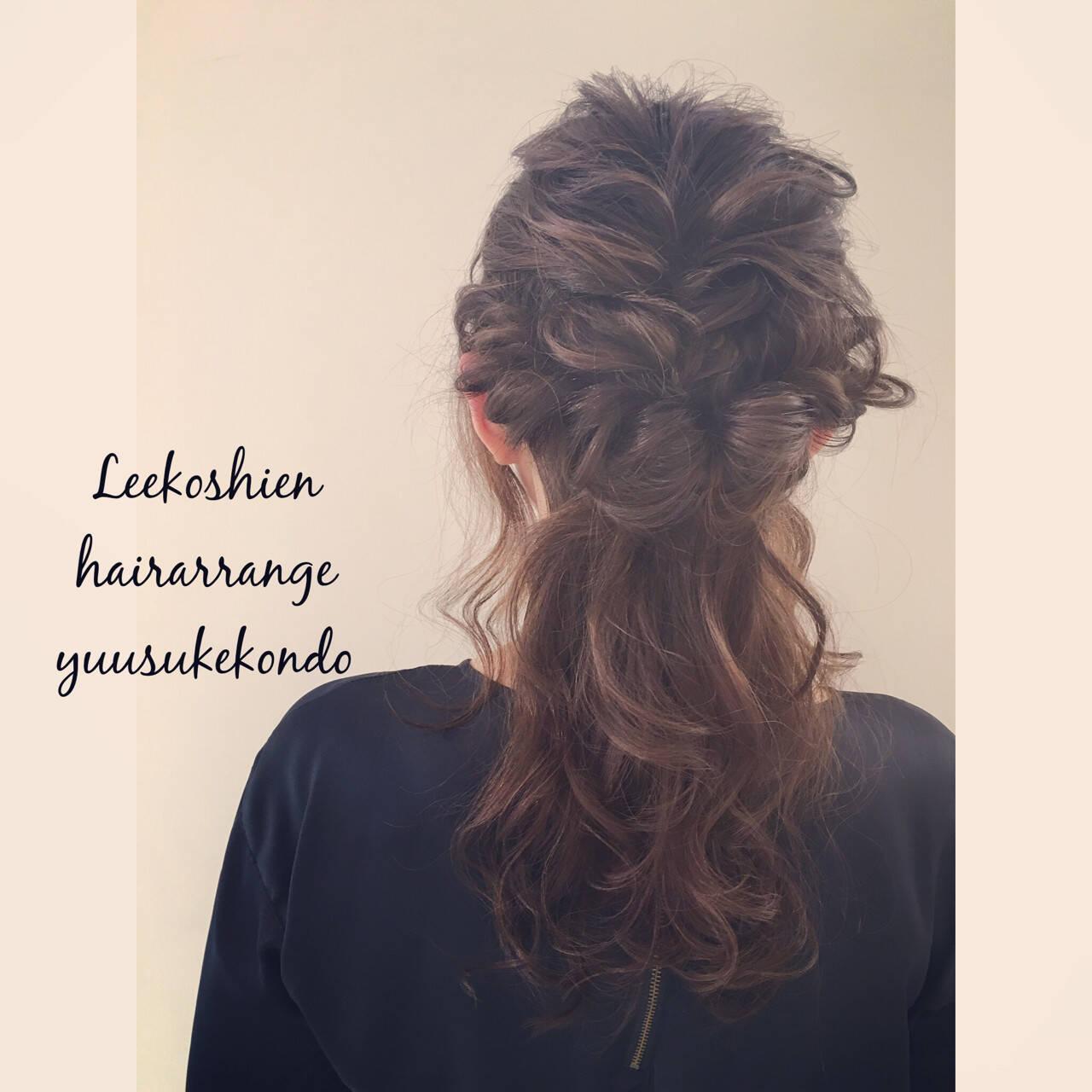 ヘアアレンジ ハーフアップ 夏 セミロングヘアスタイルや髪型の写真・画像