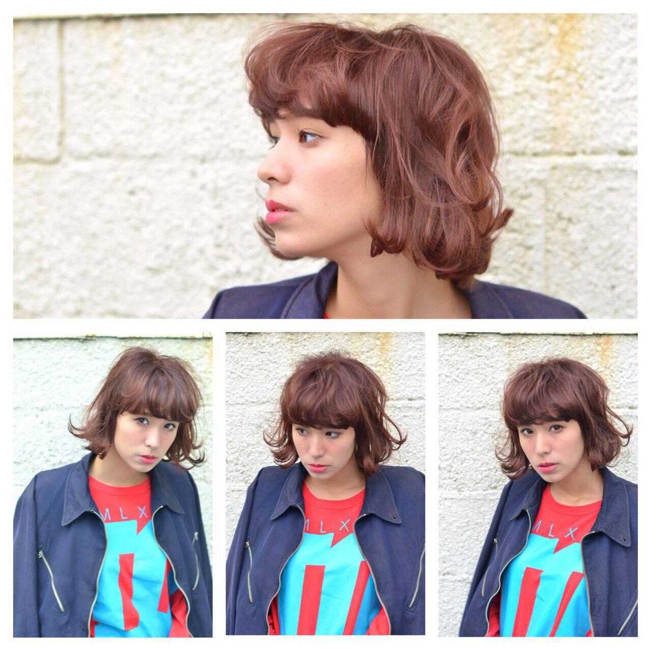 ウェーブ ボブ モード ストリートヘアスタイルや髪型の写真・画像
