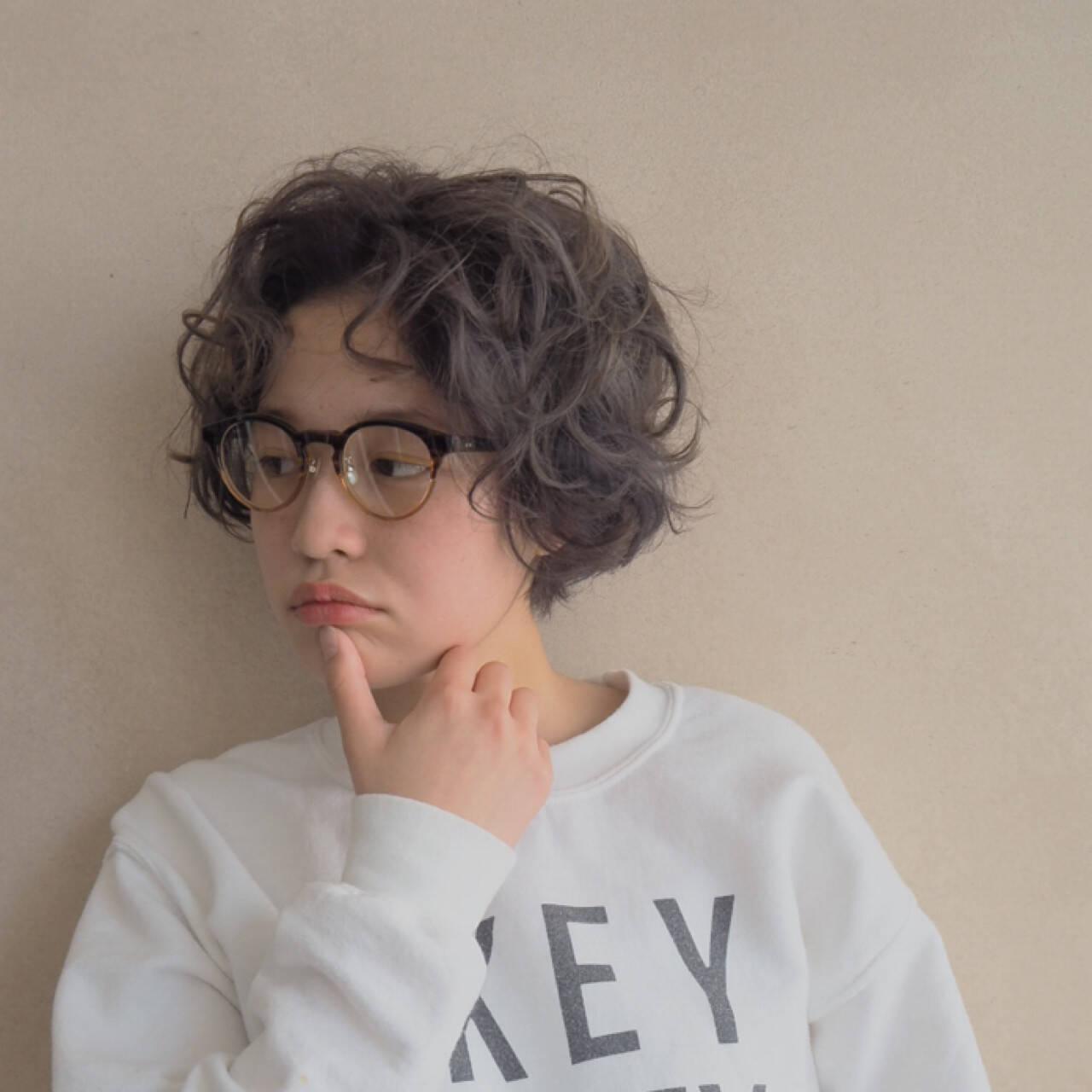 くせ毛風 ナチュラル ショート パーマヘアスタイルや髪型の写真・画像