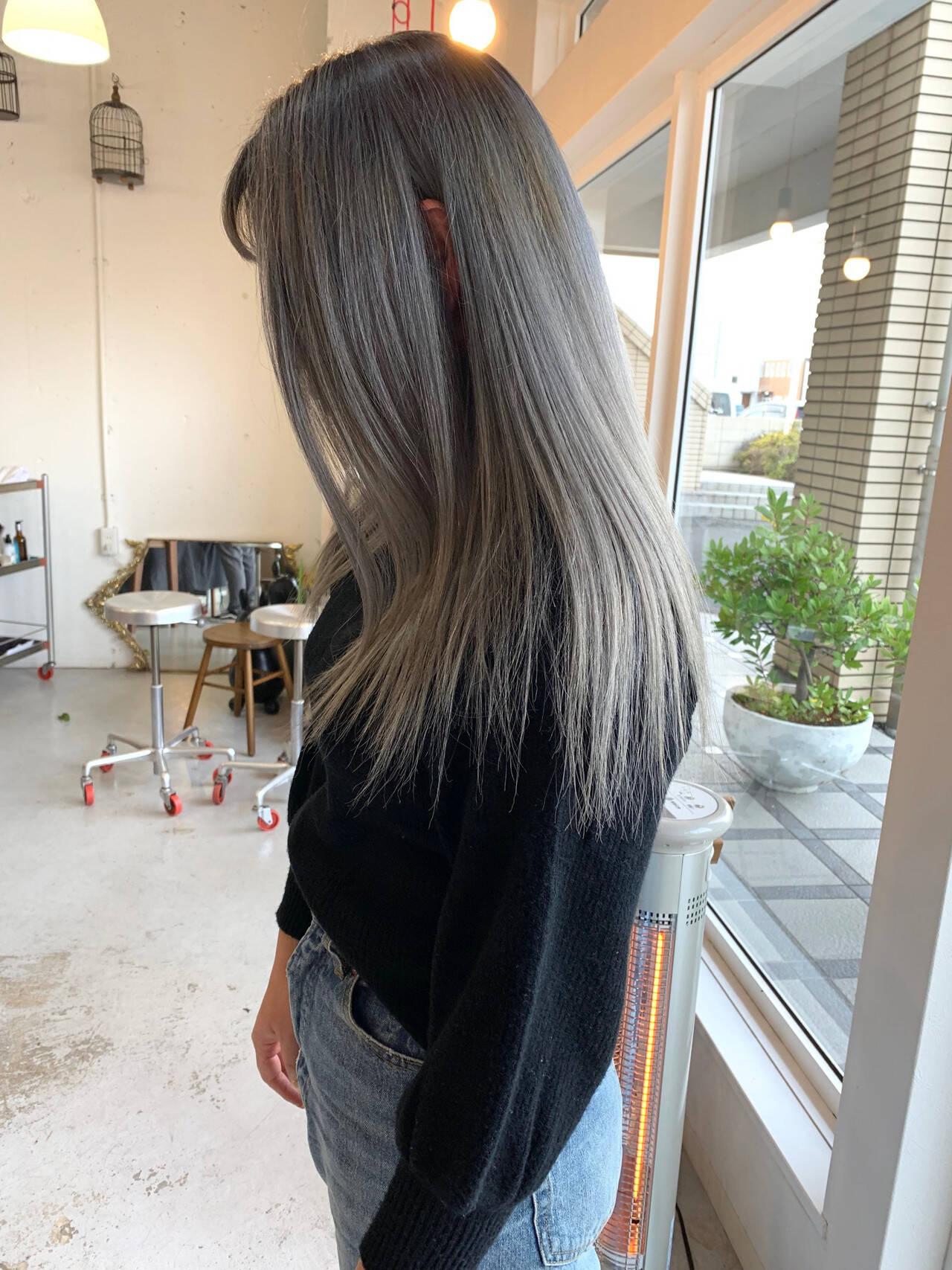 アンニュイほつれヘア ストリート ミディアム ダブルカラーヘアスタイルや髪型の写真・画像