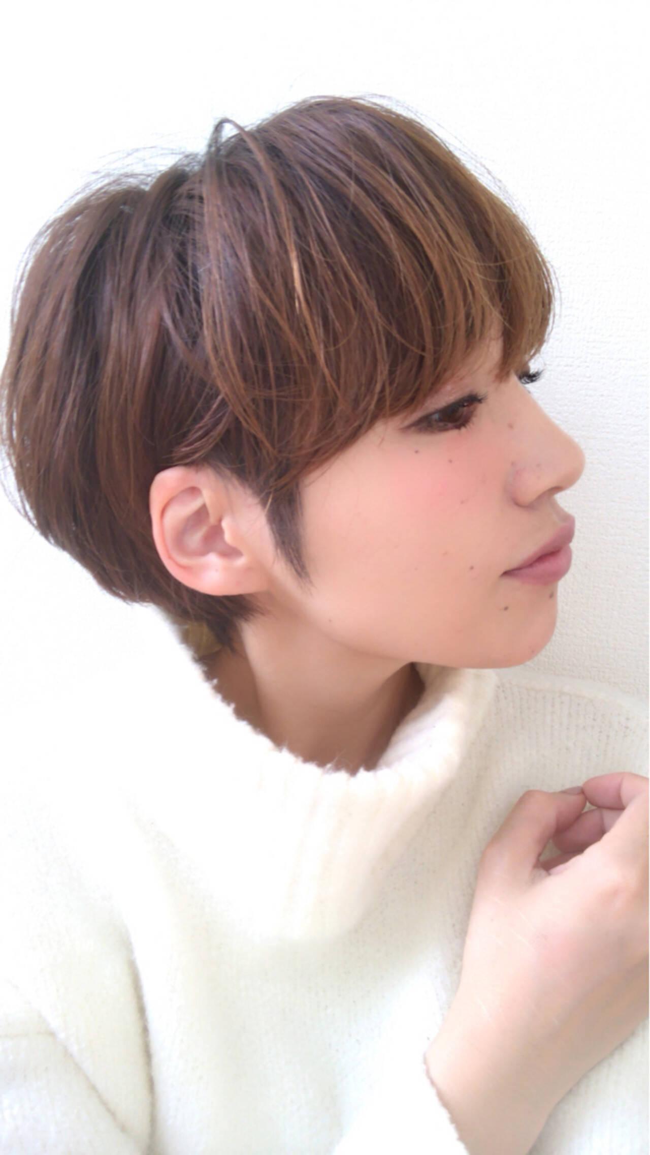 大人女子 小顔 かっこいい ナチュラルヘアスタイルや髪型の写真・画像