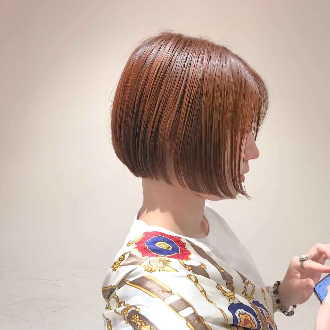 ナチュラル 透明感カラー オレンジカラー ボブヘアスタイルや髪型の写真・画像