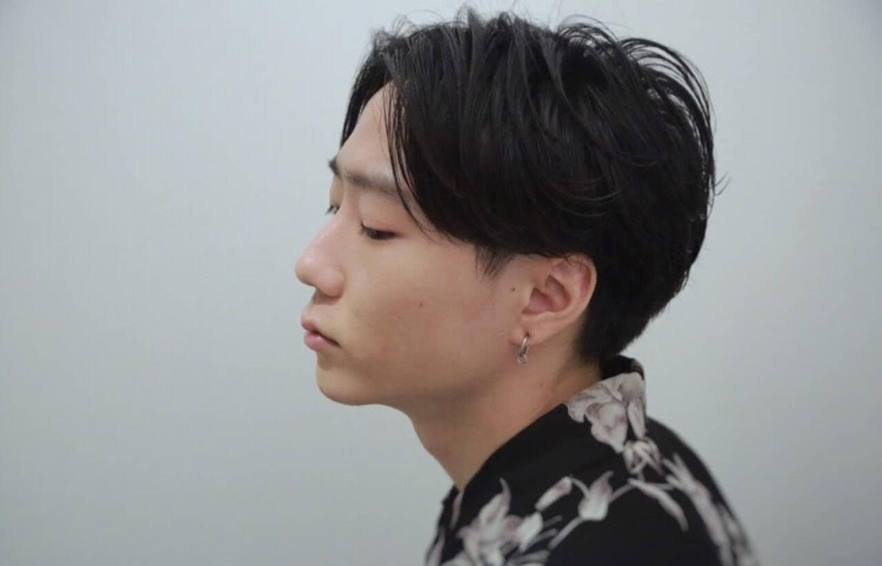 パーマ ショート ナチュラル メンズヘアヘアスタイルや髪型の写真・画像