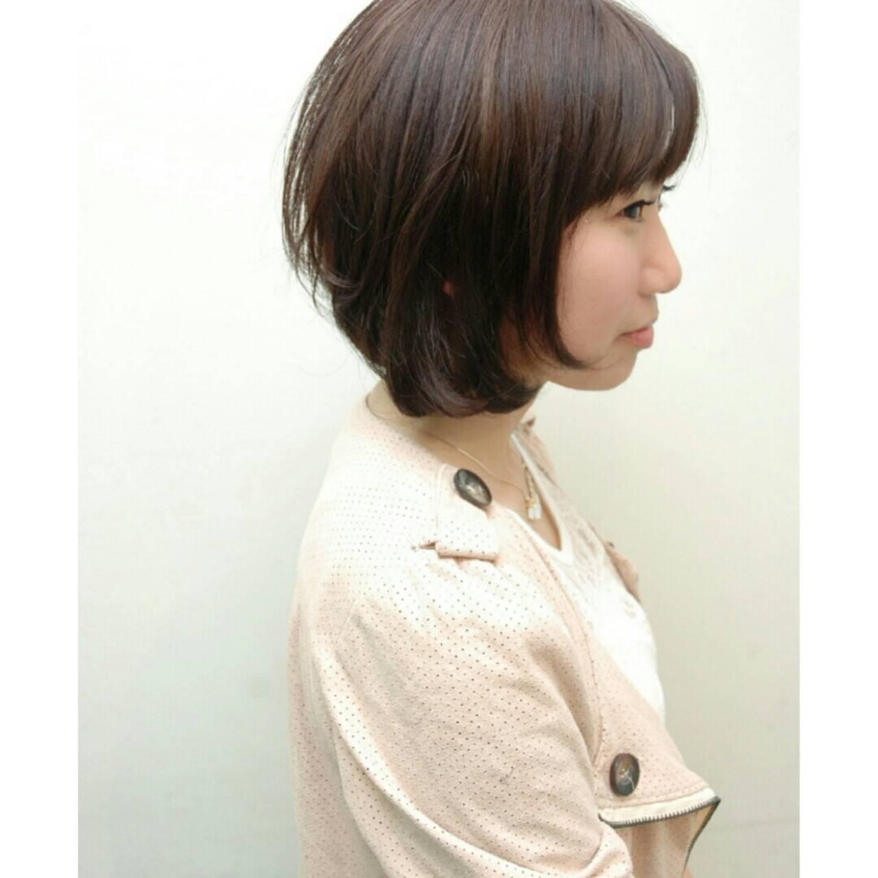簡単 前髪あり ナチュラル 大人かわいいヘアスタイルや髪型の写真・画像