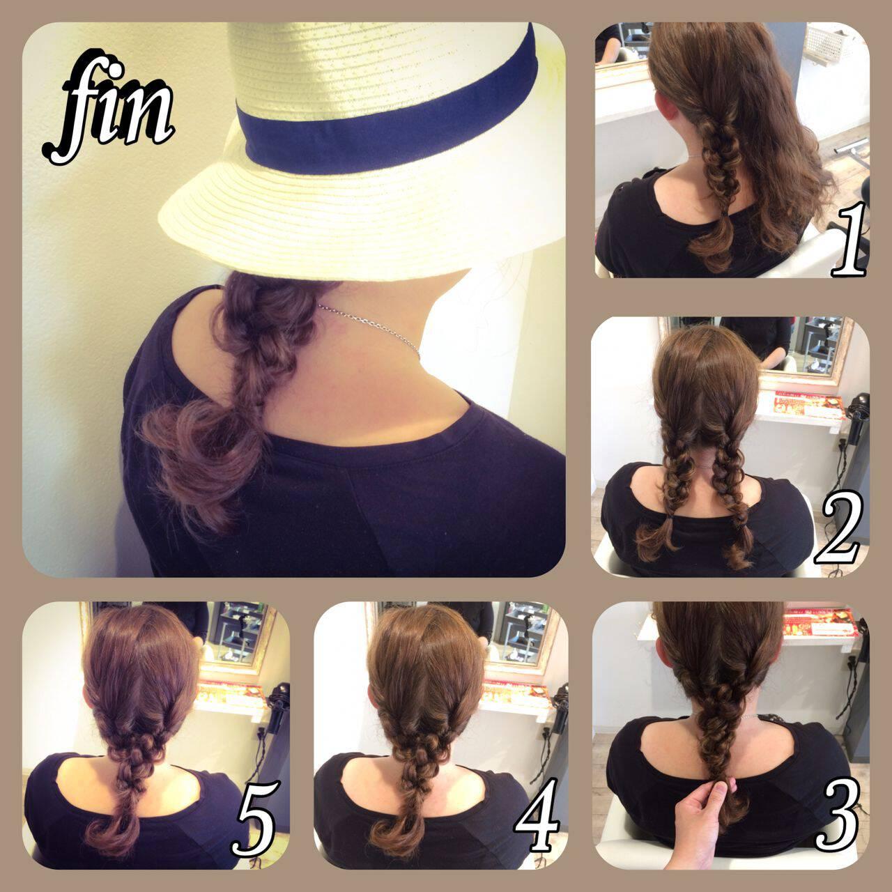 ヘアアレンジ 三つ編み 簡単ヘアアレンジ セミロングヘアスタイルや髪型の写真・画像