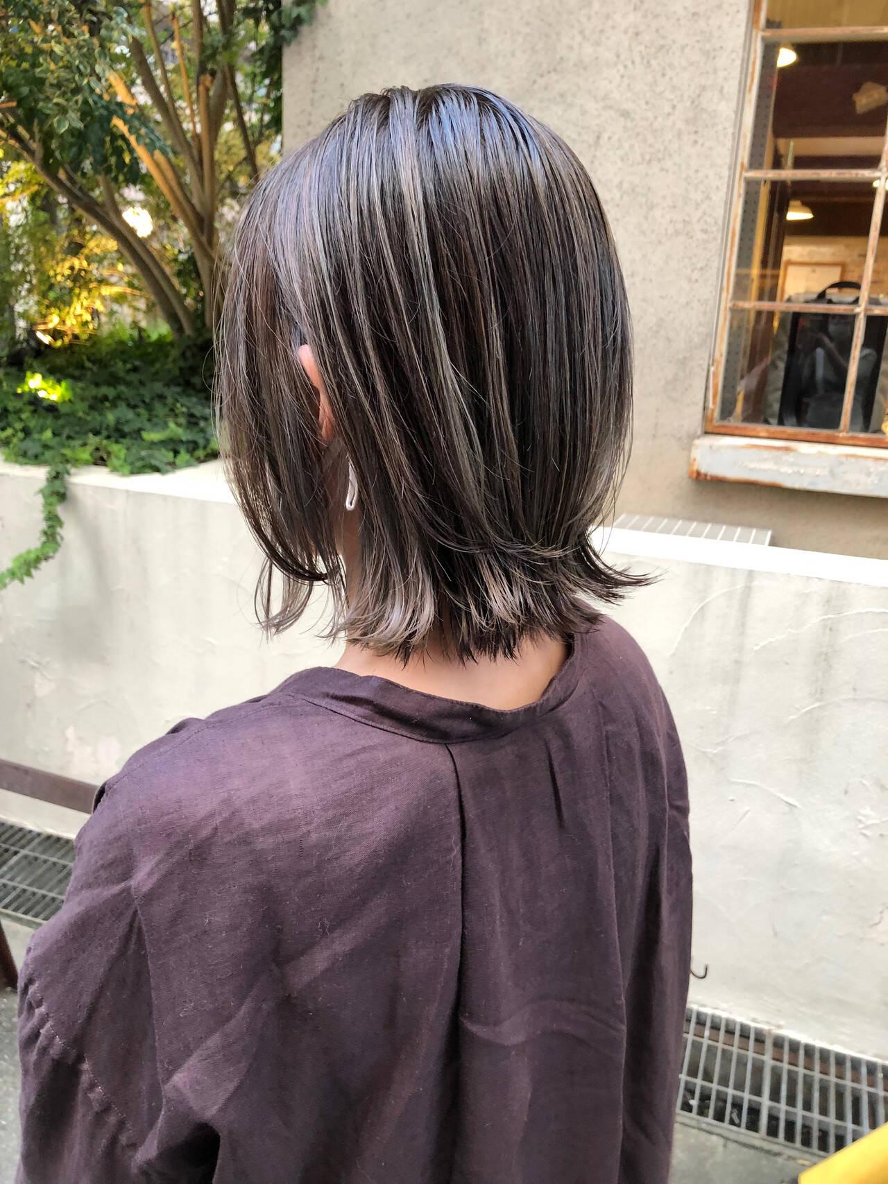 ウルフカット ボブ インナーカラー グラデーションカラーヘアスタイルや髪型の写真・画像