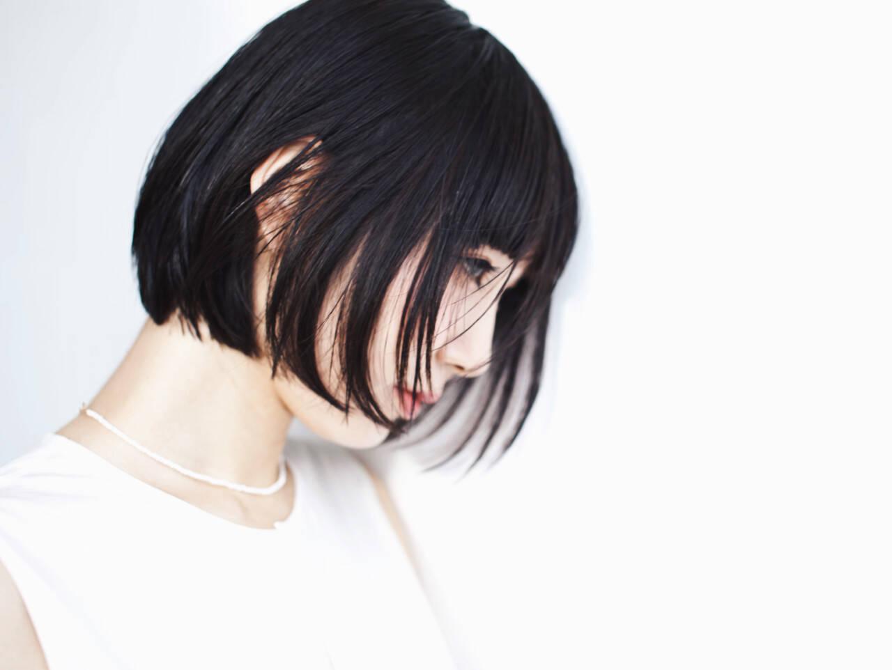 ショート 黒髪 モード ボブヘアスタイルや髪型の写真・画像