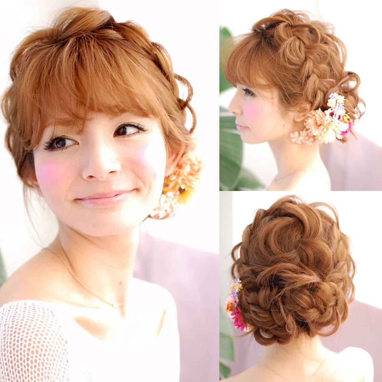ストリート 大人かわいい セミロング ヘアアレンジヘアスタイルや髪型の写真・画像