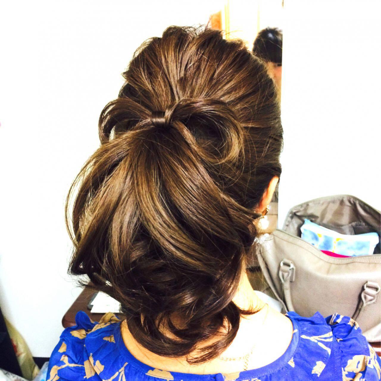 ポニーテール ロング コンサバ 結婚式ヘアスタイルや髪型の写真・画像