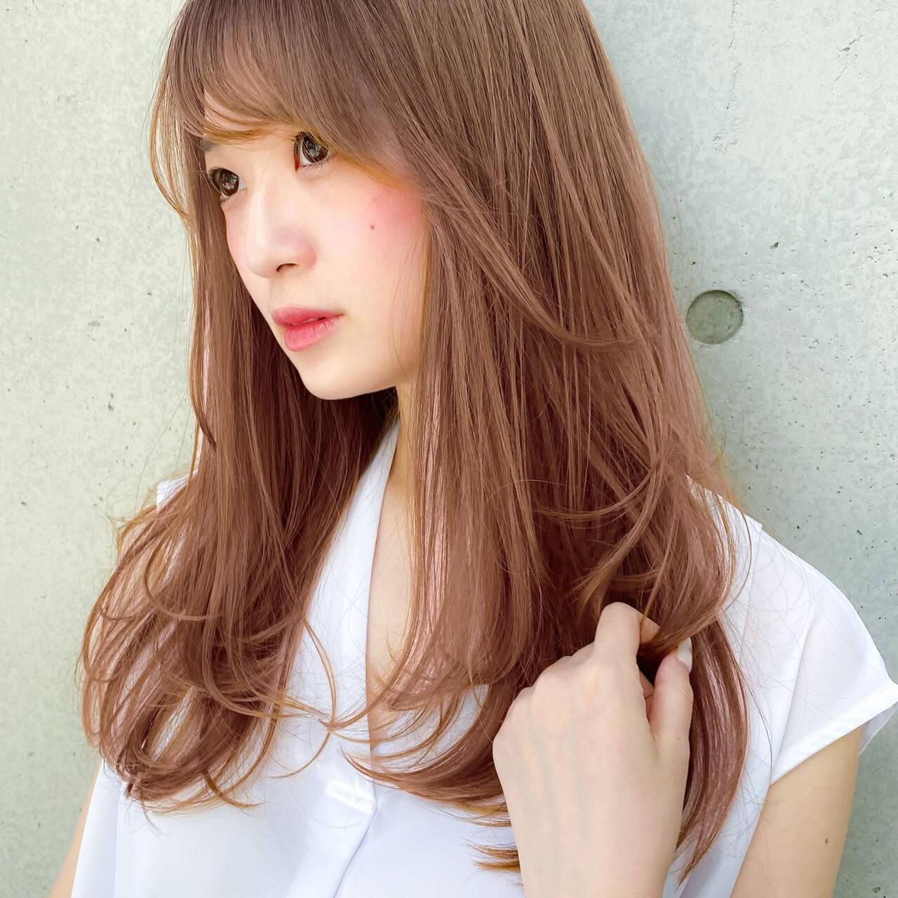 デジタルパーマ ロング 大人可愛い レイヤースタイルヘアスタイルや髪型の写真・画像