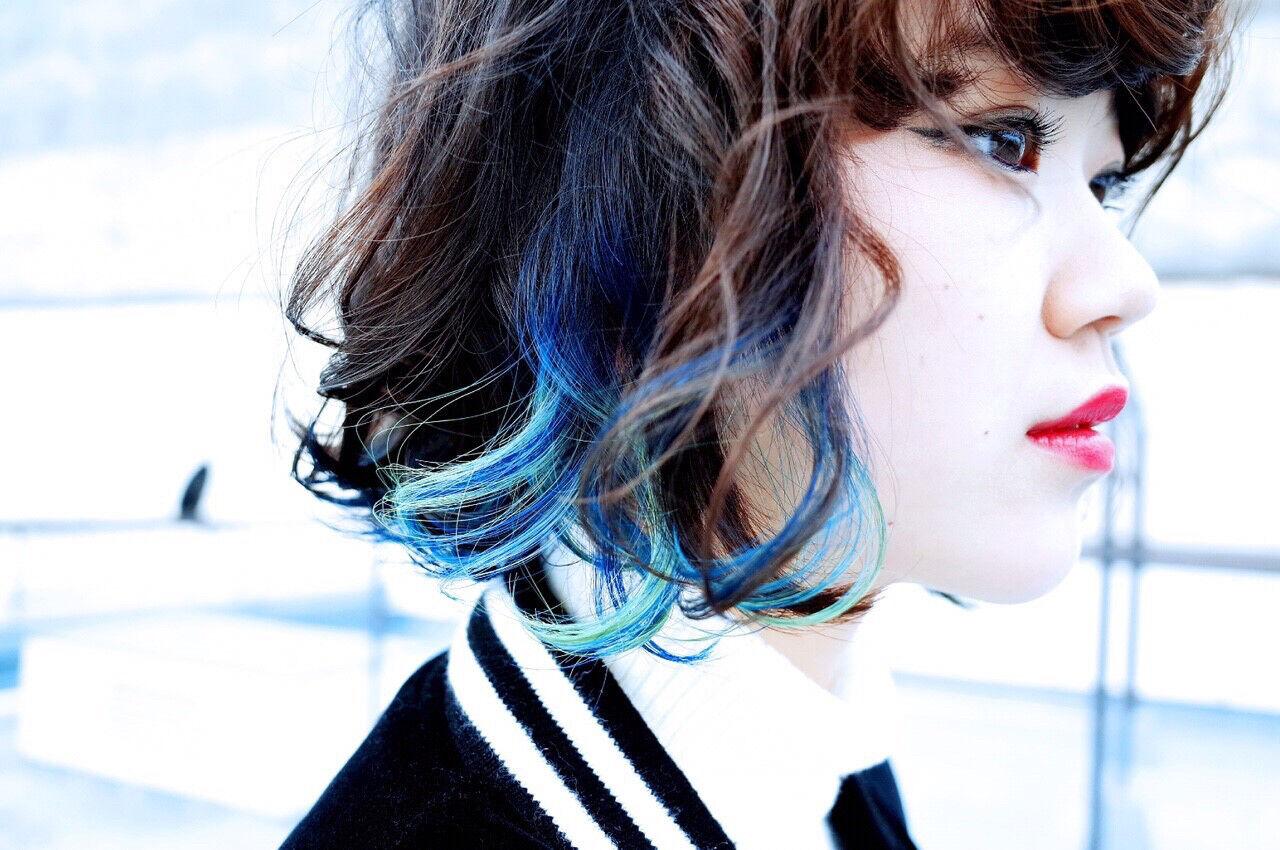 ピュア ボブ インナーカラー グラデーションカラーヘアスタイルや髪型の写真・画像