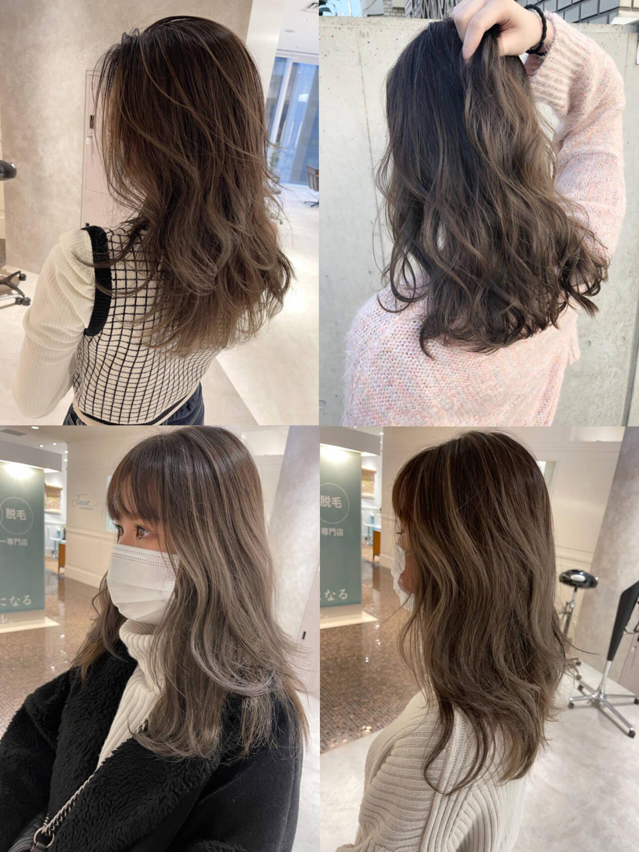 ハイライト 大人ハイライト 極細ハイライト インナーカラーヘアスタイルや髪型の写真・画像