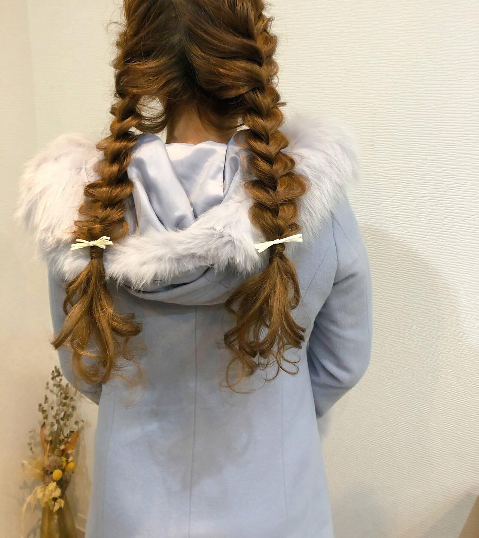 編みおろしツイン ヘアアレンジ ロング 編み込みヘアヘアスタイルや髪型の写真・画像