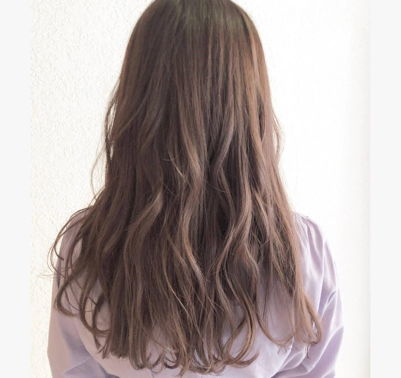 ラベンダーアッシュ ガーリー ロング デートヘアスタイルや髪型の写真・画像