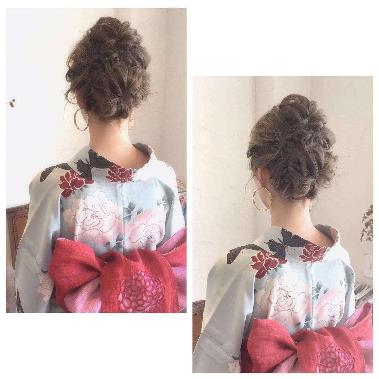 和装 ヘアアレンジ ロング お祭りヘアスタイルや髪型の写真・画像