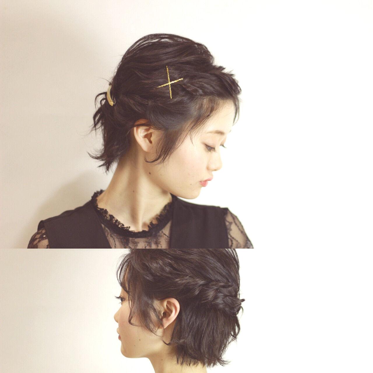 ショート 編み込み 結婚式 簡単ヘアアレンジヘアスタイルや髪型の写真・画像