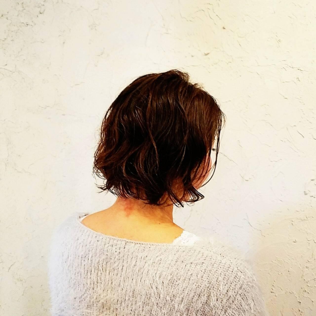 デジタルパーマ ゆるふわ ヘアワックス ボブヘアスタイルや髪型の写真・画像