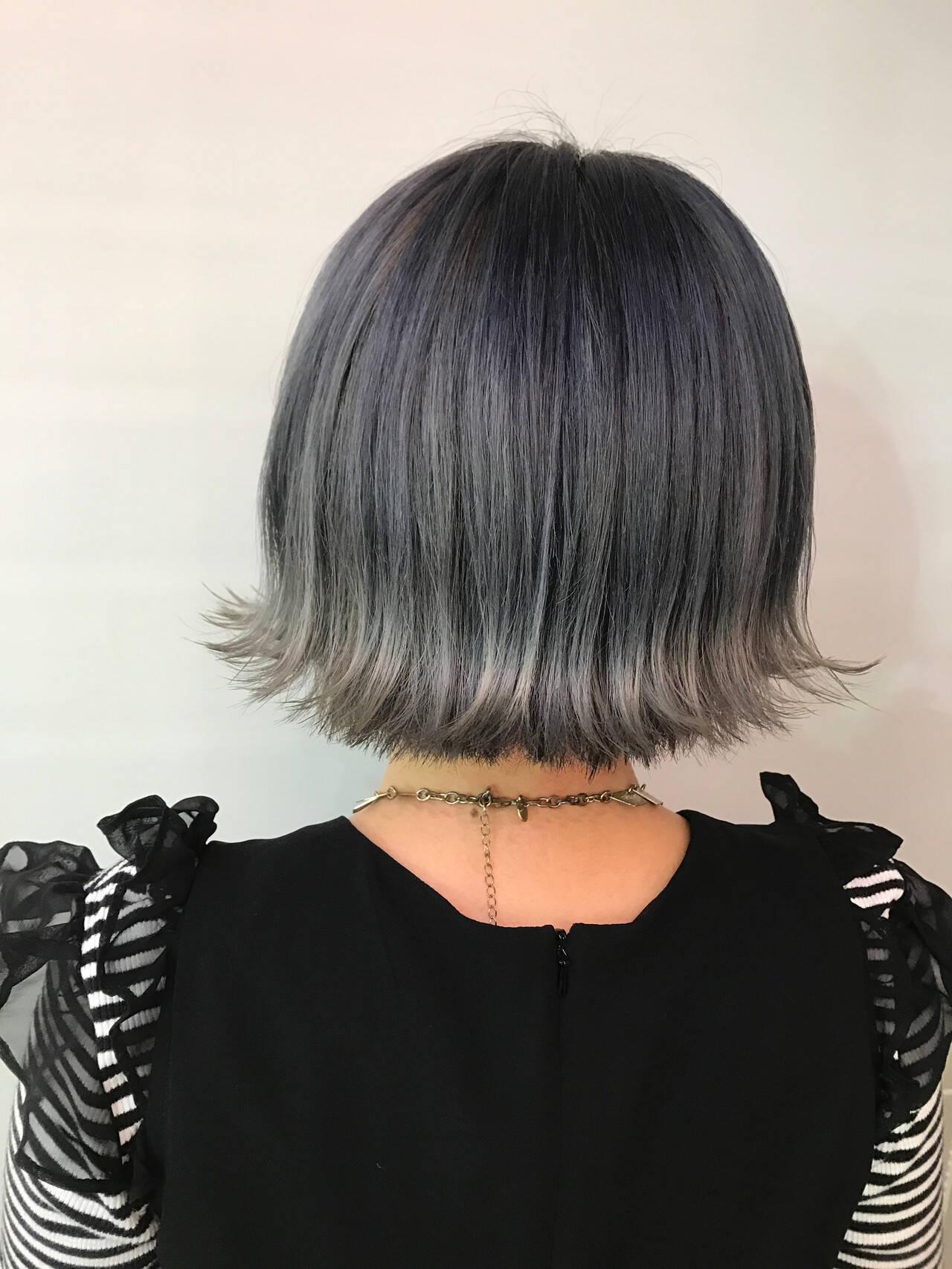 ブルー ストリート インナーブルー ブルーブラックヘアスタイルや髪型の写真・画像
