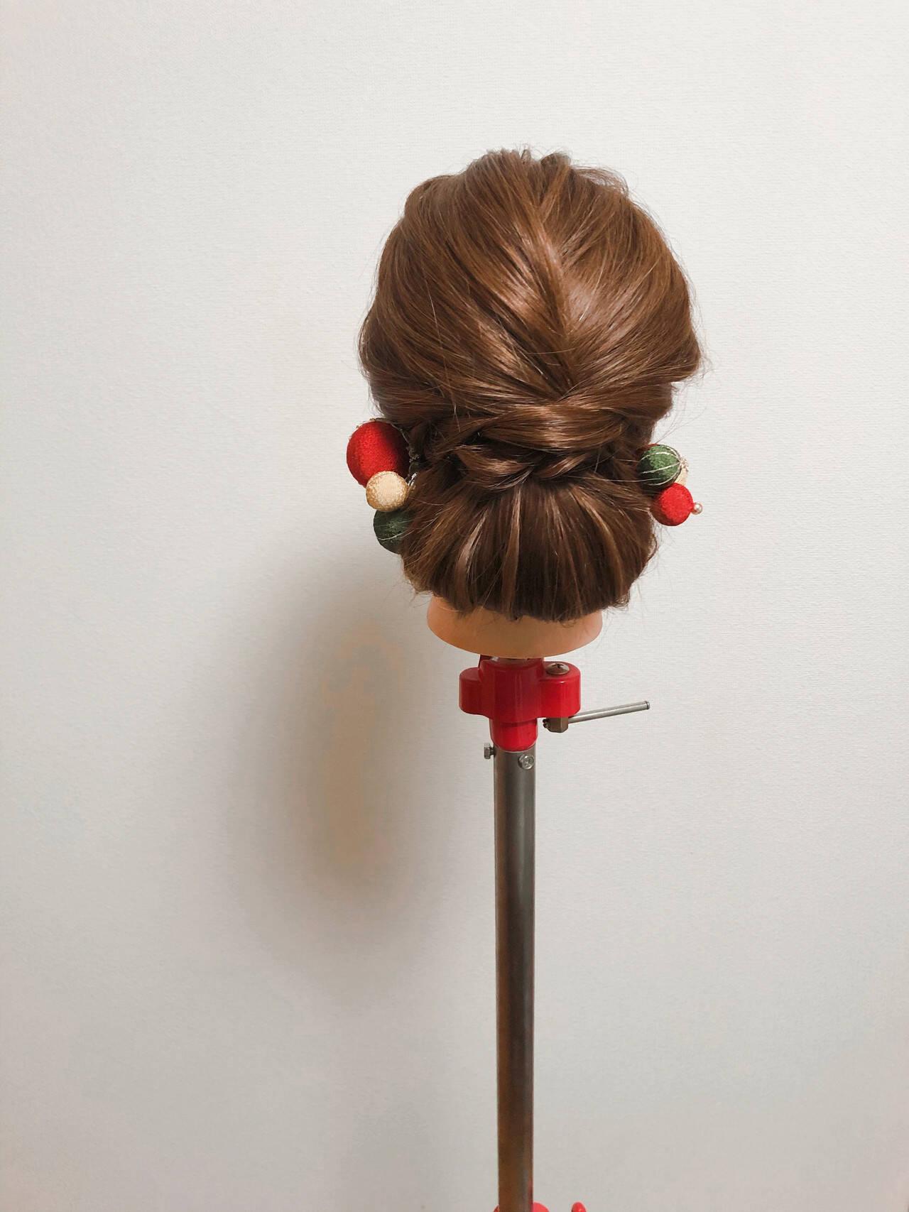 和装髪型 アップ ブライダル セミロングヘアスタイルや髪型の写真・画像