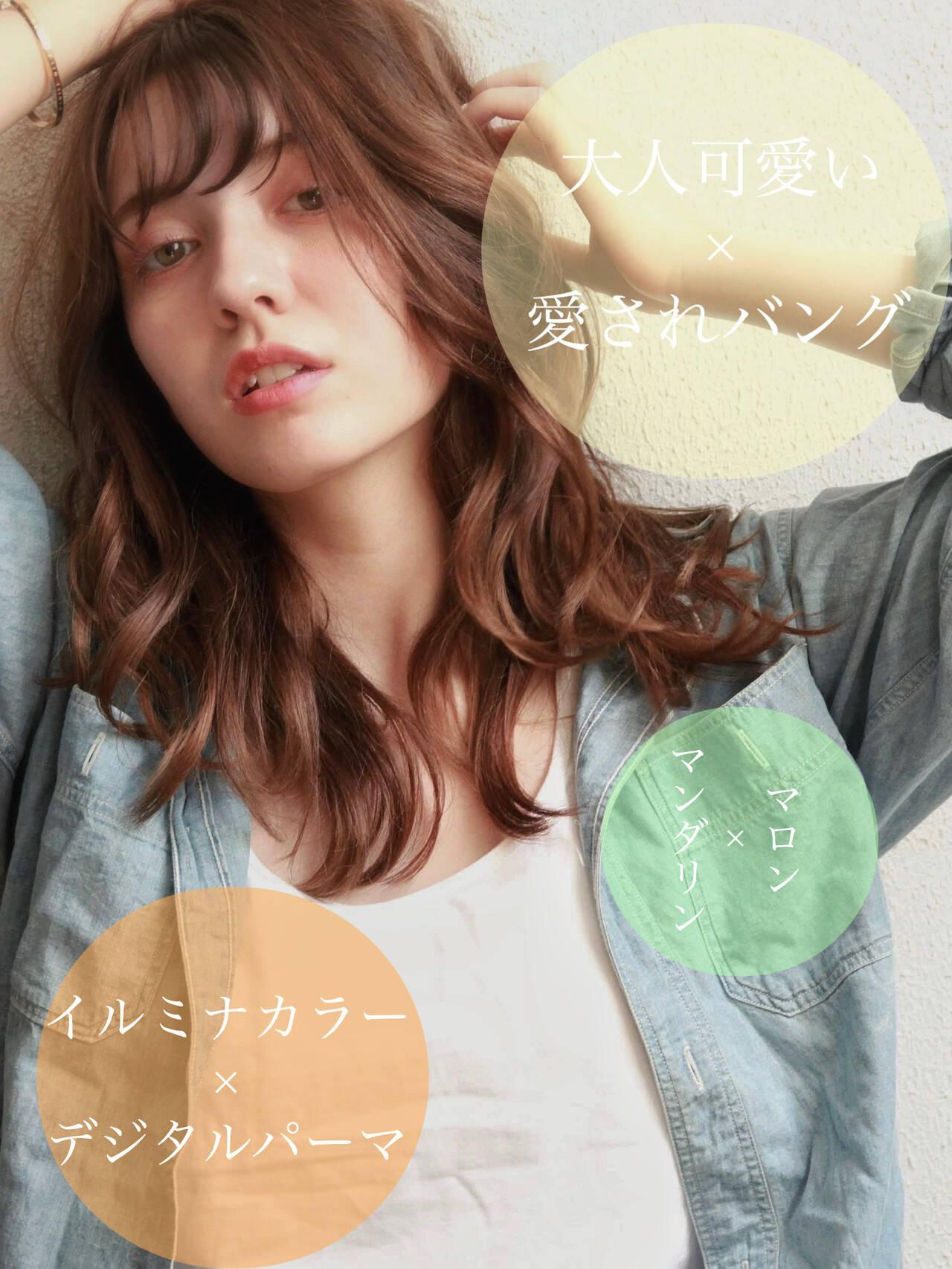 グレージュ デジタルパーマ セミロング イルミナカラーヘアスタイルや髪型の写真・画像