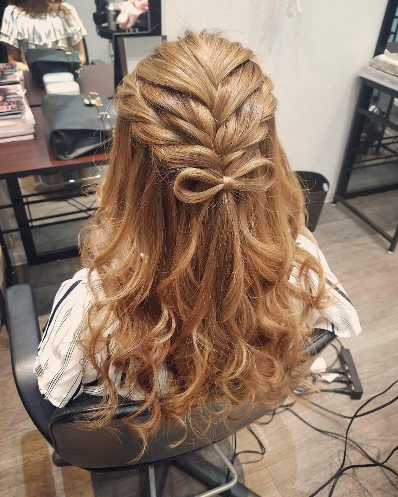 ロング ハーフアップ ガーリー ヘアアレンジヘアスタイルや髪型の写真・画像