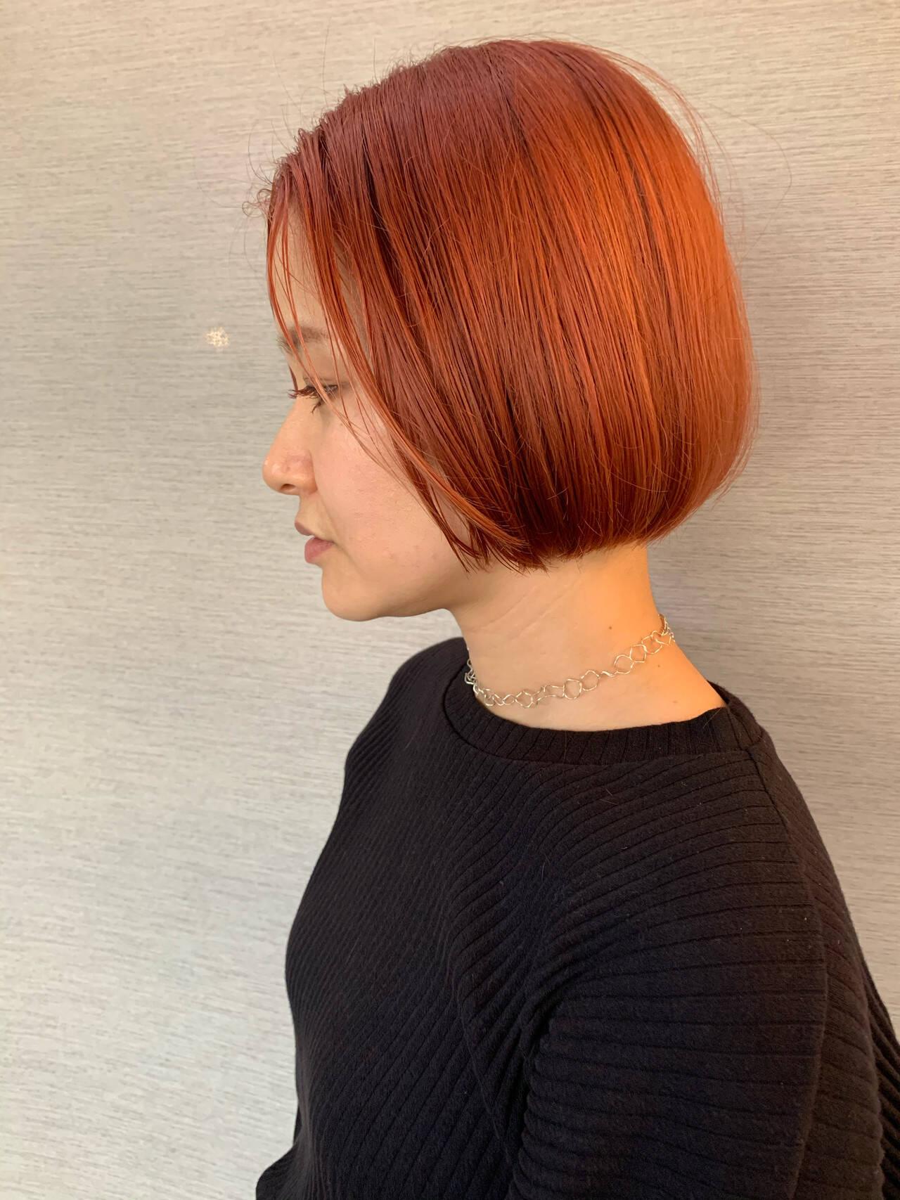 ボブ アプリコットオレンジ ナチュラル コーラルピンクヘアスタイルや髪型の写真・画像