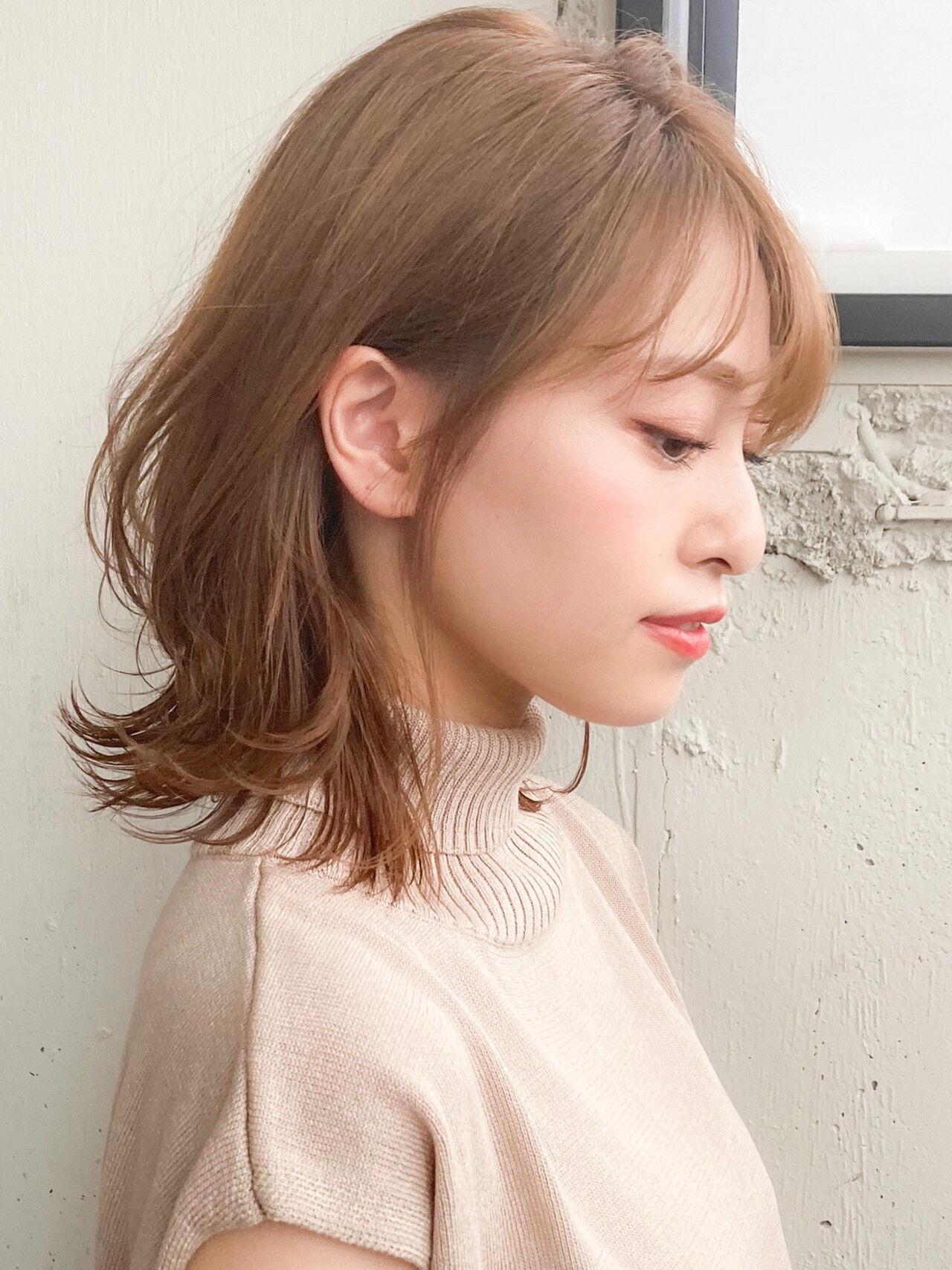 デジタルパーマ コンサバ アンニュイほつれヘア ひし形シルエットヘアスタイルや髪型の写真・画像