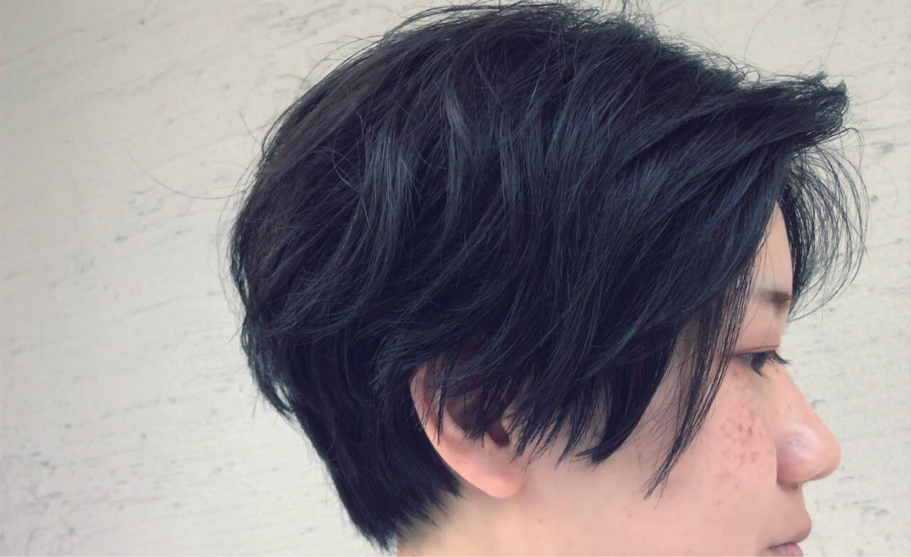 暗髪 ショート 黒髪 アッシュヘアスタイルや髪型の写真・画像