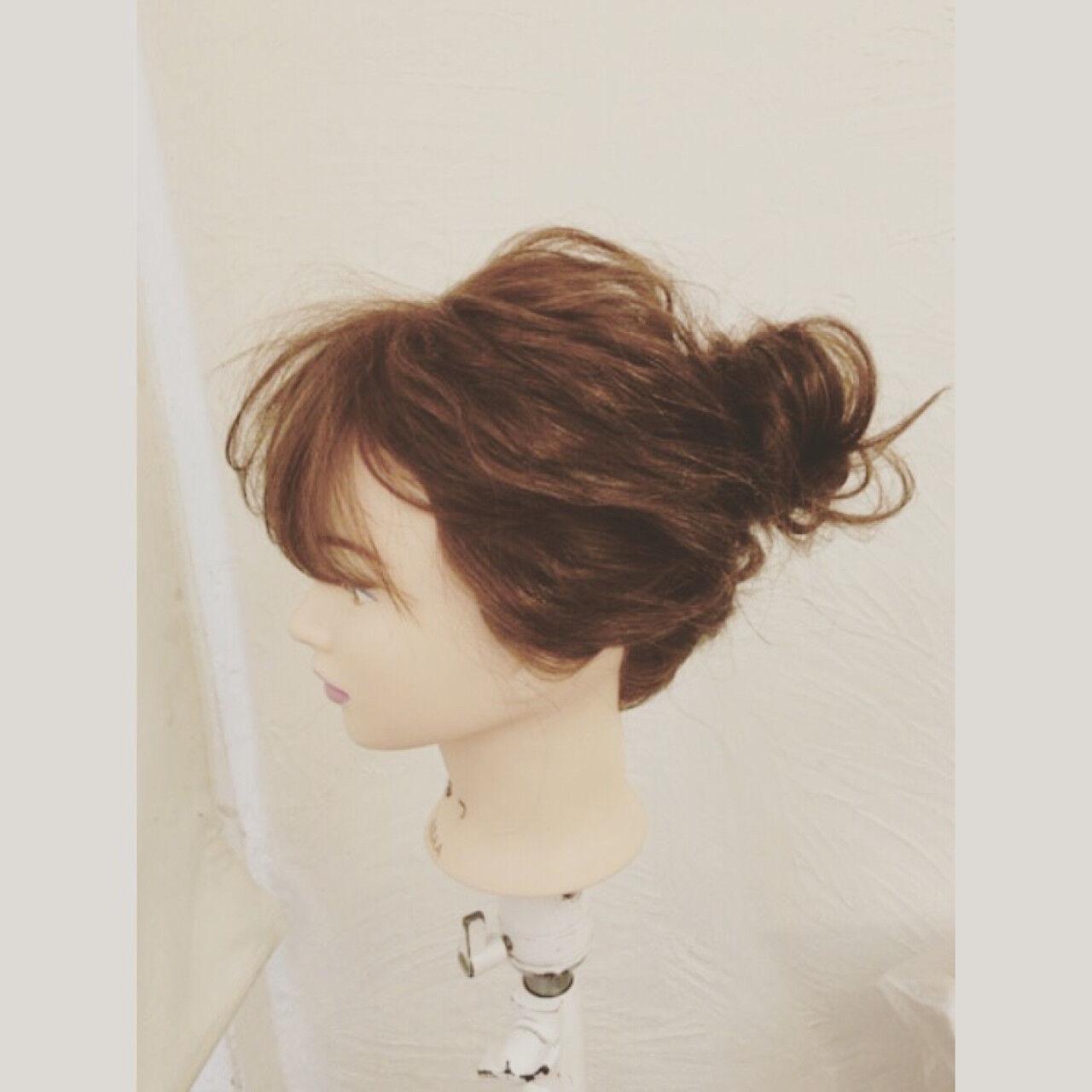 ゆるふわ ヘアアレンジ セミロング 簡単ヘアアレンジヘアスタイルや髪型の写真・画像