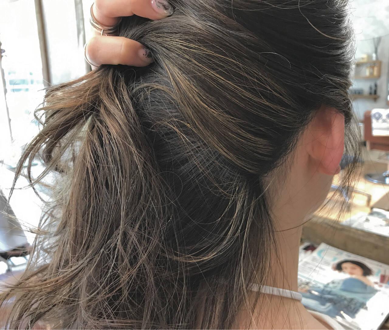 ハイライト リラックス セミロング 簡単ヘアアレンジヘアスタイルや髪型の写真・画像