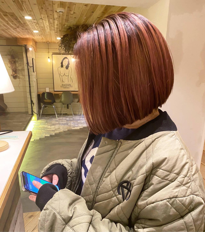 ミニボブ ボブ 切りっぱなしボブ ショートボブヘアスタイルや髪型の写真・画像