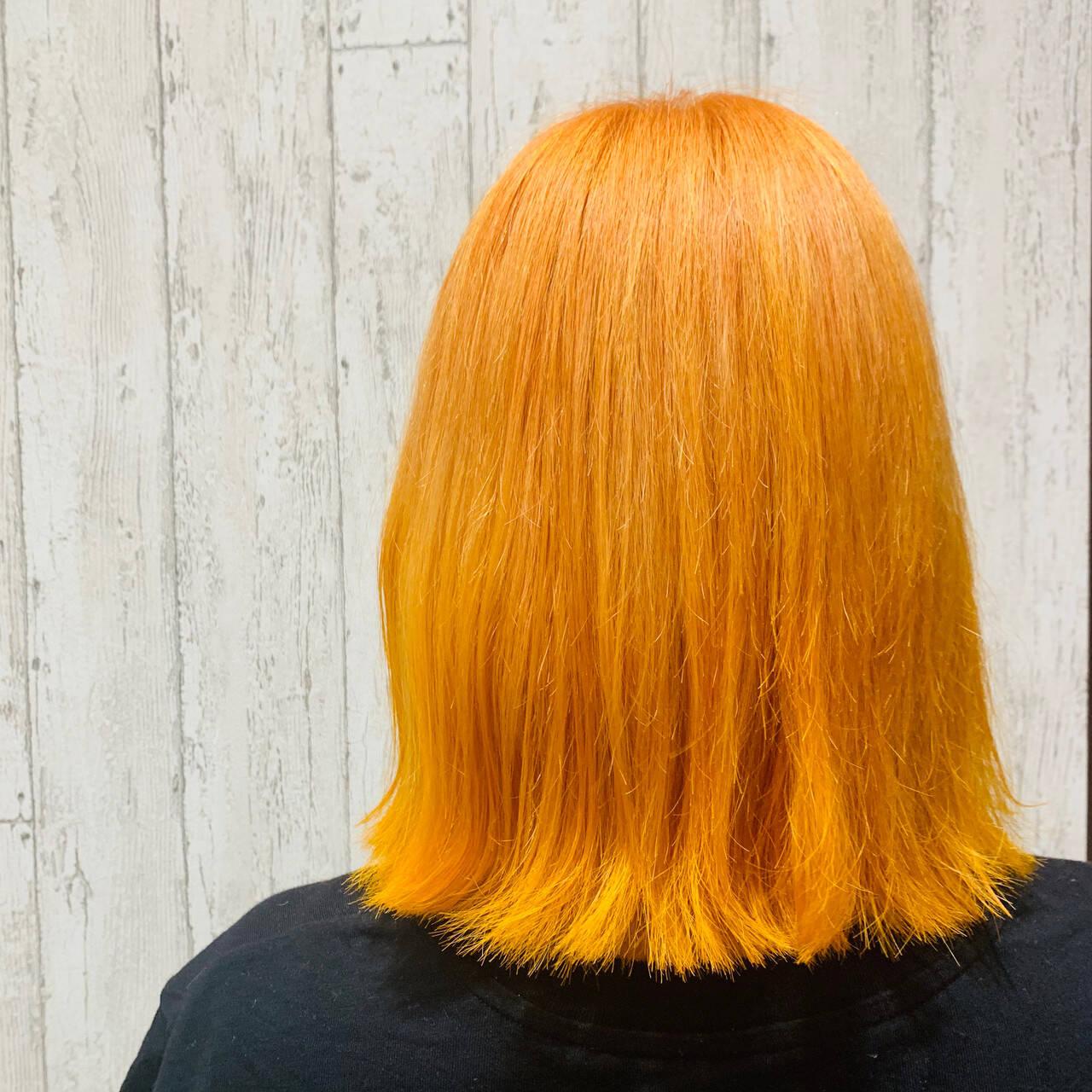 ヘアアレンジ オレンジカラー ガーリー ボブヘアスタイルや髪型の写真・画像