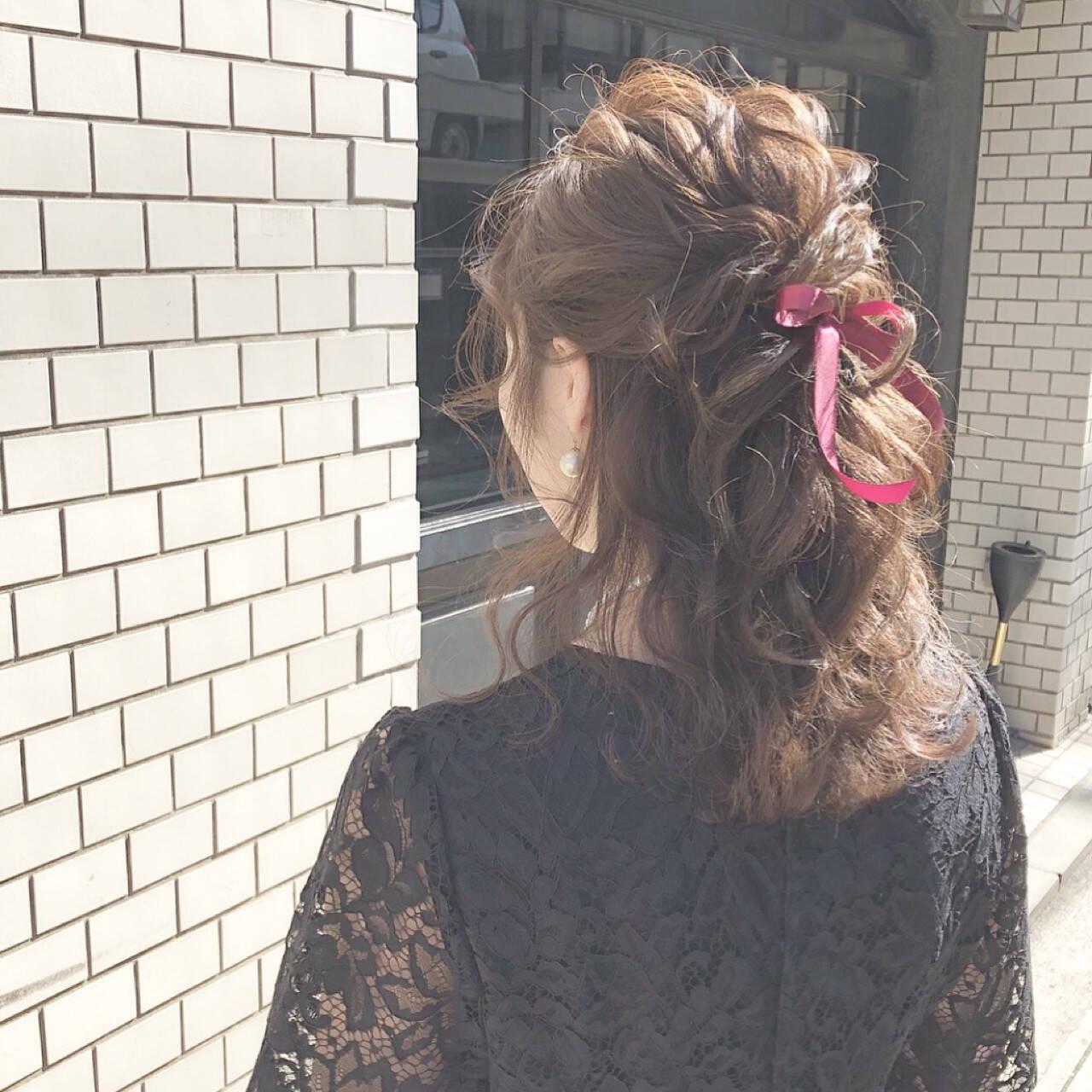 結婚式 ヘアアレンジ ハーフアップ アンニュイほつれヘアヘアスタイルや髪型の写真・画像