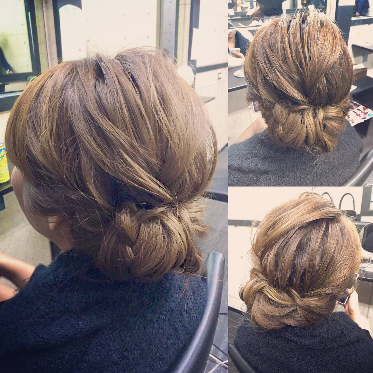 シニヨン 編み込み ミディアム 簡単ヘアアレンジヘアスタイルや髪型の写真・画像