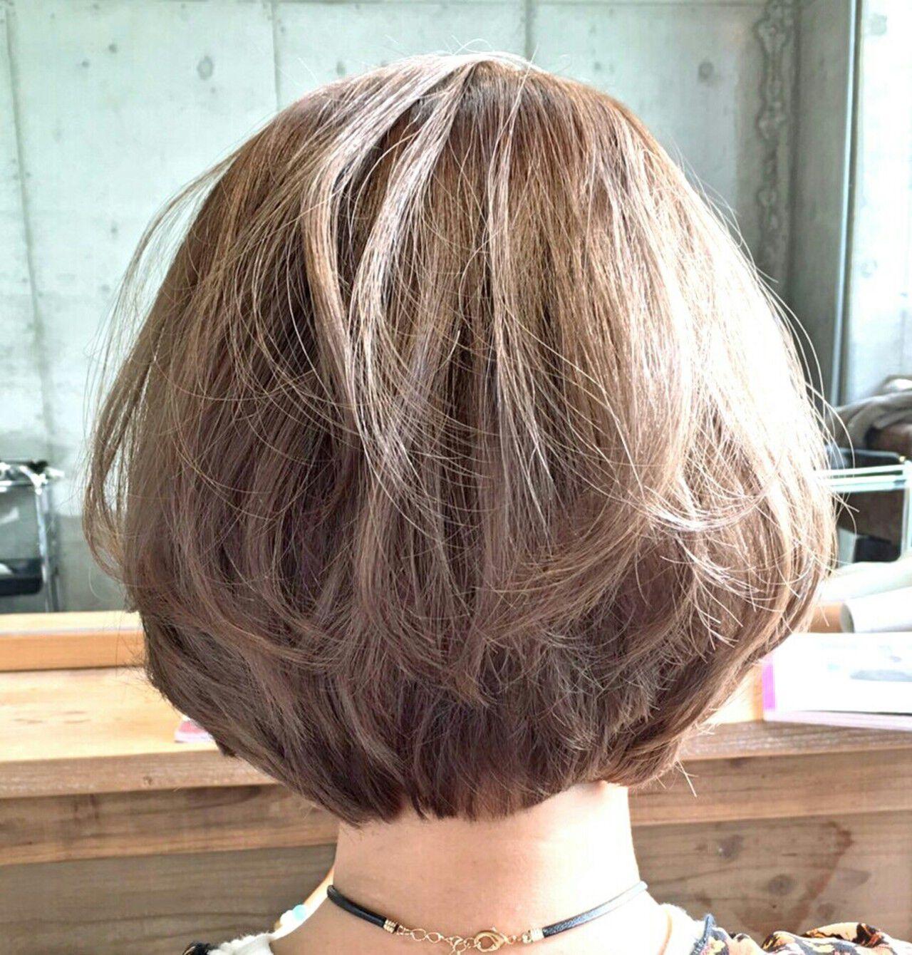 ボブ グラデーションカラー ガーリー ハイライトヘアスタイルや髪型の写真・画像