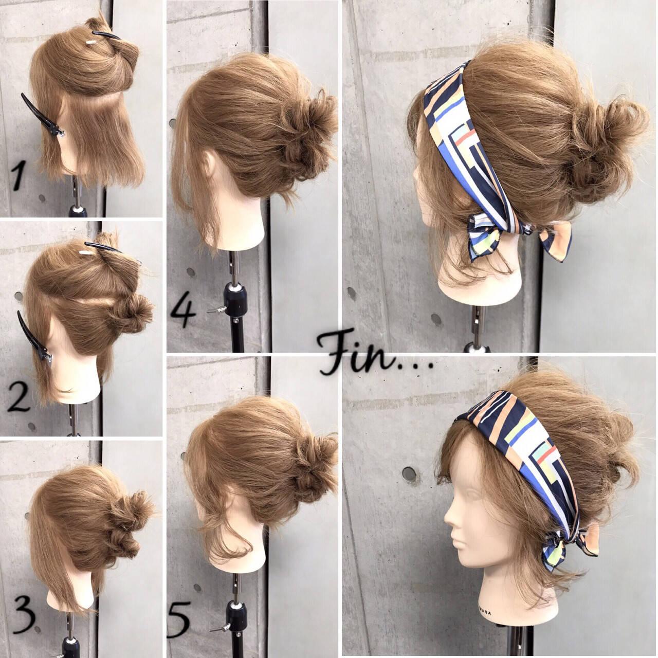 大人女子 ヘアアクセ ボブ 簡単ヘアスタイルや髪型の写真・画像