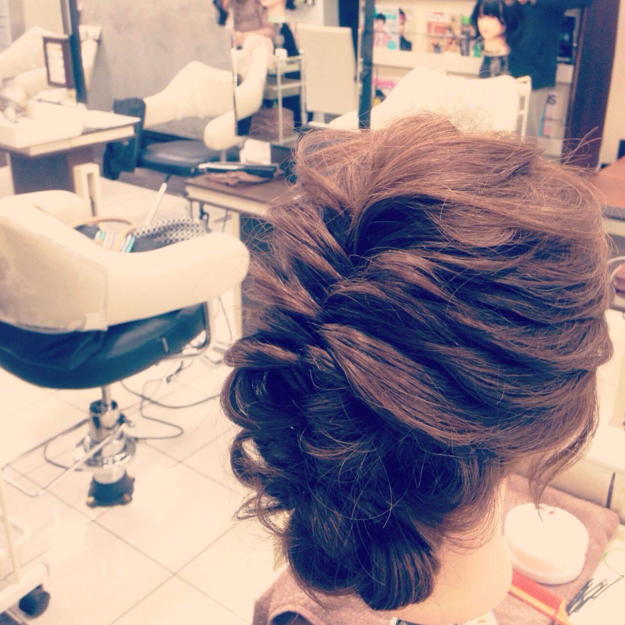 アップスタイル 編み込み 大人かわいい ショートヘアスタイルや髪型の写真・画像