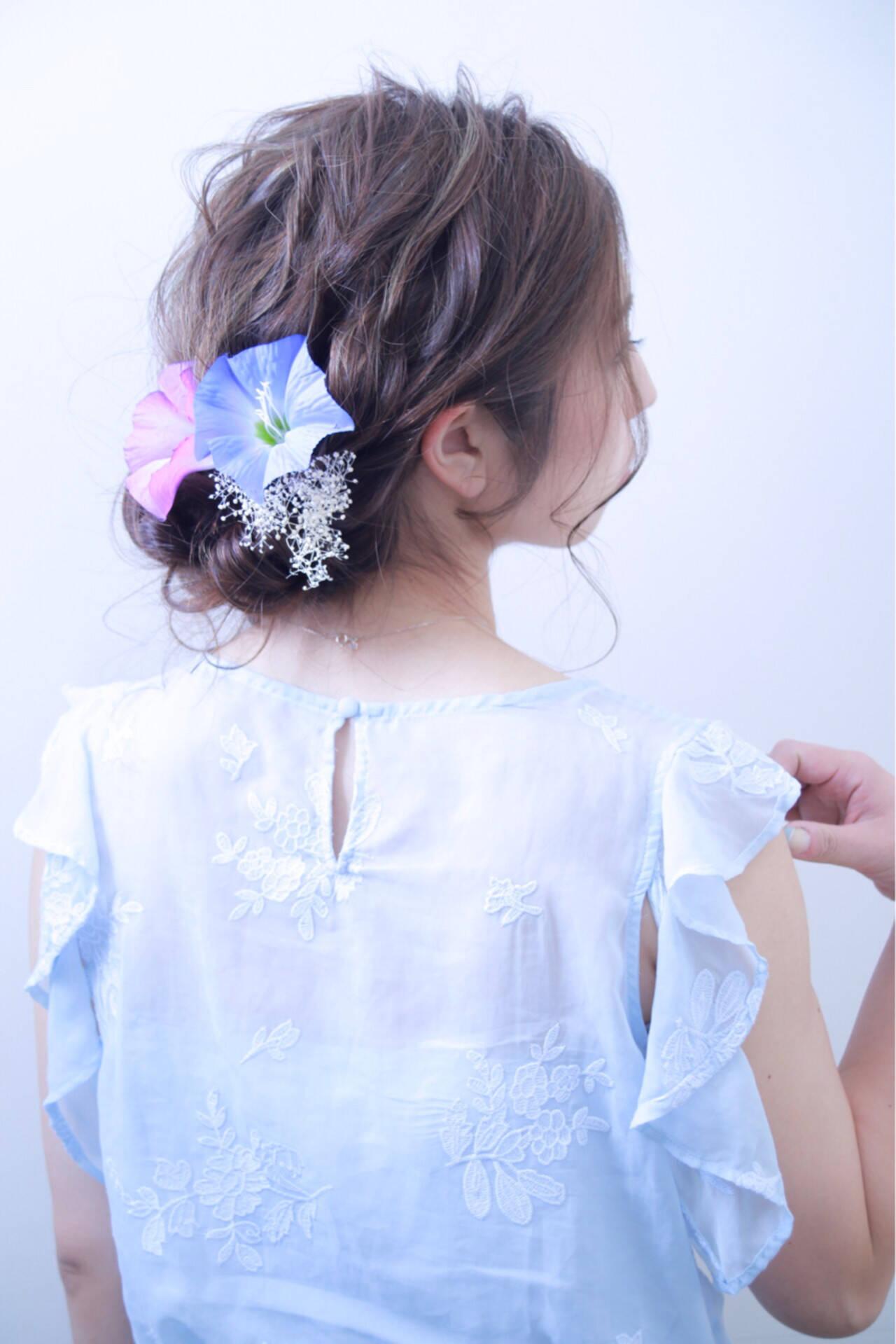 結婚式 フェミニン ヘアアレンジ デートヘアスタイルや髪型の写真・画像